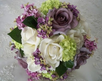 15 Piece Set Lilacs and Roses Vintage Wedding Spring Bridal Bouquet Package