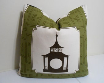 Duralee Brown - Black Pagoda Pillow Cover- Decorative Pillow Cover  - Thrwon Pillow Cover - 18 x 18, 20 x 20