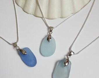 Blue sea glass Necklace, sea glass Jewelry, cornflower blue, beach glass jewelry, Blue sea glass, blue sea glass jewelry
