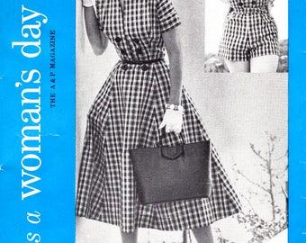 "1950s beachwear playsuit skirt jacket vintage sewing pattern reproduction Bust 32"""
