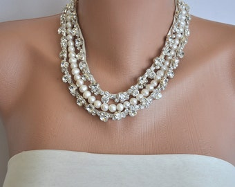 Pearl Bridal Necklace ,Pearl Rhinestone Necklace,Wedding Pearl Necklace,Ivory Pearls,Statement Necklace,Bridal Pearl Necklace,