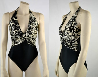 Early 1990s LA Blanca Black and White Floral, Deep V-Neck, One Piece Swimsuit