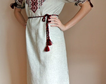Folk dress Vyshyvanka dress, women's handmade Ukrainian embroidery. Linen dress.
