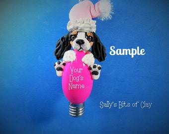 Tri Color Cavalier King Charles Spaniel Santa dog Christmas Light Bulb Ornament Sally's Bits of Clay PERSONALIZED FREE with dog's name