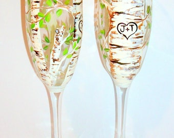 Aspen Trees (Green Leaf ) with Heart and Initials Hand Painted Set of 2 - 6 oz. Champagne Flutes Wedding Glasses Anniversary Gift Lovers