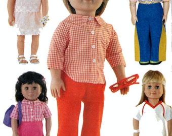 American Girl Doll Clothes Pattern 2001 OOP Butterick 3158 18 inch Doll Clothes Tennis Set Short Set Capris Kercheif Hat Uncut