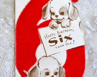 Vintage Birthday Card - Flocked Six Year Old Puppies - Used