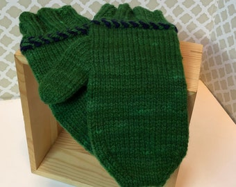 Green Mittens - Hand knit Hand Dyed Wool