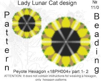Sunflower peyote pattern, Hexagon peyote pattern, Summer flower, Yellow peyote, Summer patterns, Peyote stitch, Beading patterns