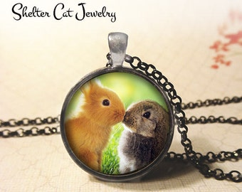 "Bunny Love Necklace - 1-1/4"" Circle Pendant or Key Ring - Handmade Wearable Photo Art Jewelry - Rabbit, Kissing, Wildlife Lover Art Gift"