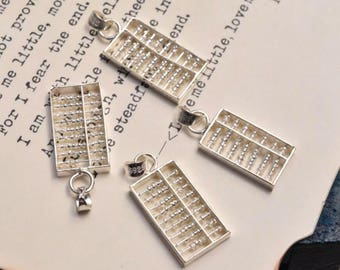 4 pcs sterling silver abacus charm pendant