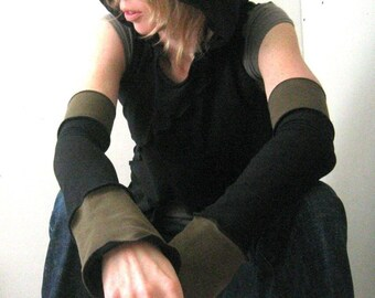 ARMSLEEVES  gloves, women accessory, arm warmers, layered clothing, handmade accessory, custom clothing, black arm warmers