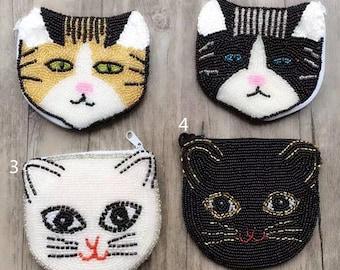 Handmade beaded Ocelot coin purse, Girls' cat coin purse, mini beading pouch