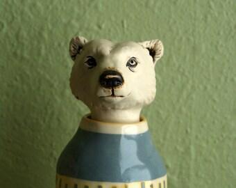 bear vase - ceramic bear jar - natural hand-built