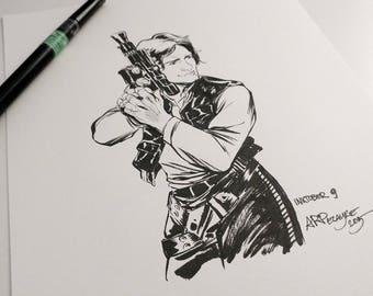 Star Wars Han Solo - Original Ink INKtober Drawing, Original Art, Original Ink, Original Artwork, Star Wars Fan Art