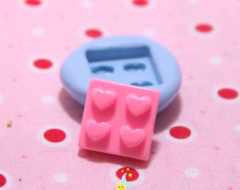 Square play blocks silicone mold shape heart 15 mm
