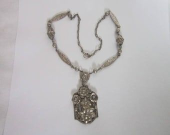 Antique Wonderful Heavy Sterling Silver Necklace Floral Motif with large floral Pendant