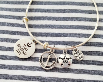 "Silver Anchor Bracelet, Adjustable Bangle, ""You Anchor Me"" Expandable Bangle, Anchor Jewelry, Gifts For Her, Charm Bangle Bracelet"