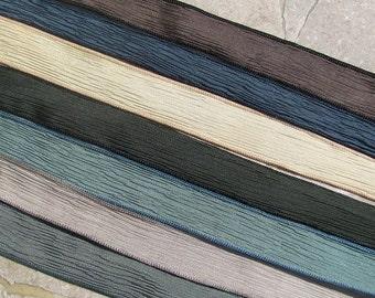 ZEN GARDEN Silk Ribbon Assortment, Crinkle Silk Ribbons Qty 7 Silk Strings, Hand Dyed and Sewn Wraps, Wrist Wrap Ribbon, Yoga Wraps