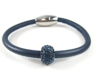 Navy Blue Leather Bangle, Womens Leather Bracelet, Leather Bangle Bracelet,  Womens Leather Jewelry, Womens Bracelet, Blue Leather