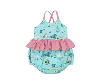 Toadstool Skies Skirted Bubble Romper