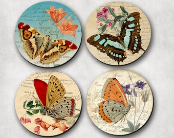 Coaster Set - Butterflies, in a shabby style, Drinking Coasters, Hostess Gift, Bridal Gift, Coaster  (0011).