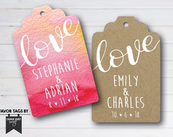 Custom love wedding, engagement, bridal shower Favor Tags. Goodie bag labels digital file, printable or printed. Any occasion