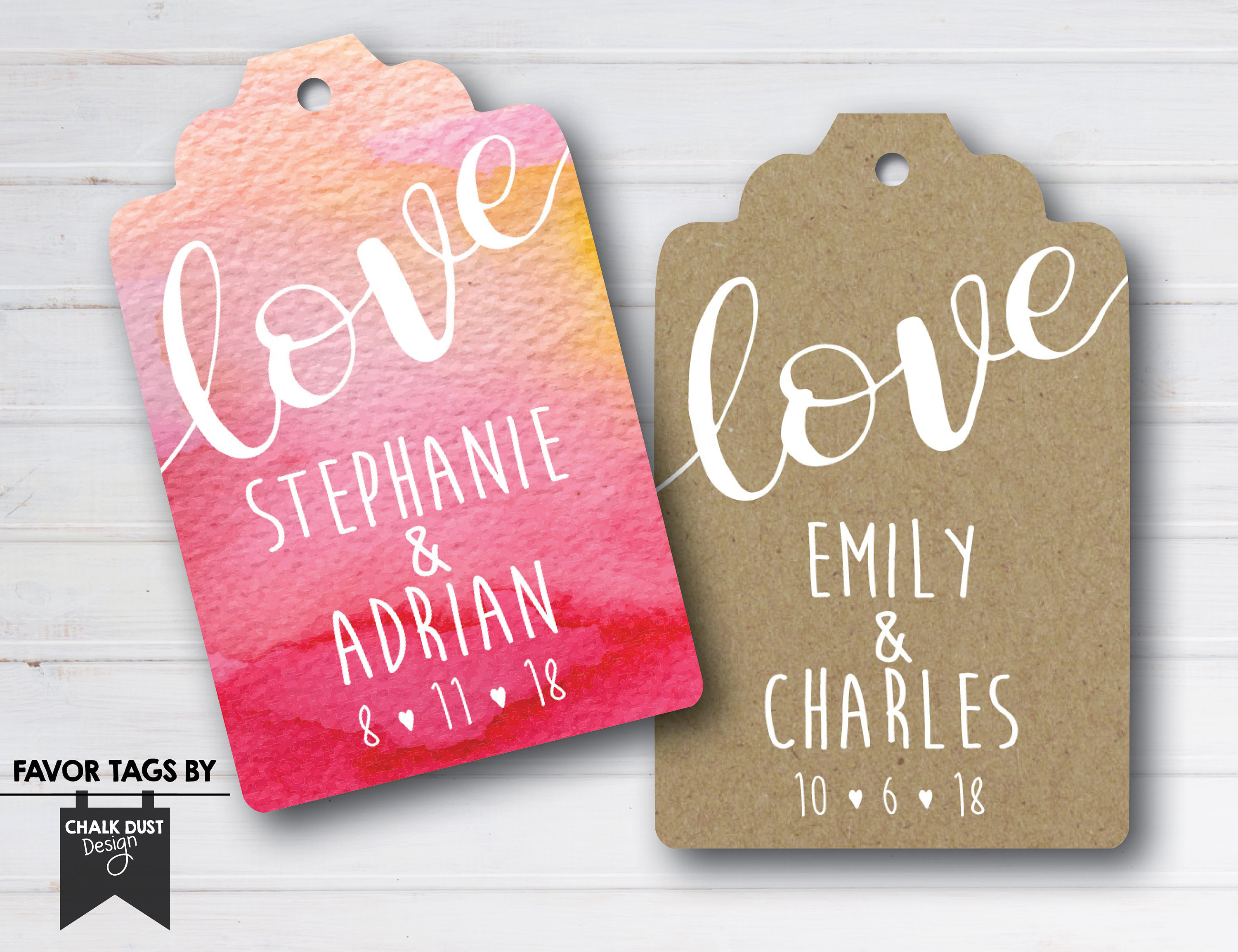Custom love wedding engagement bridal shower Favor Tags.