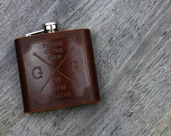Hipster Cross / Compass custom embossed leather hip flask - 6oz Hand crafted