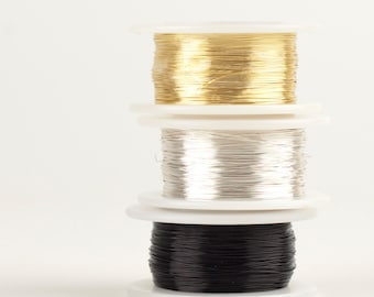 Honey Bee Craft Wires , 28 gauge Extra long Craft Wire spools 360 feet,  Gold Black and SIlver, non tarnish wires