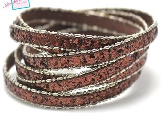 "1 m cord strap leather 10 mm, """"sequin 3 chain Brown"