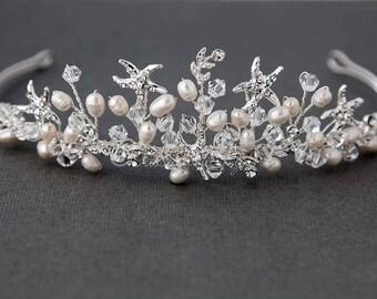 Strand Hochzeit Strass Seestern Süßwasser Perle Kristall Braut Tiara Kopfschmuck Silber