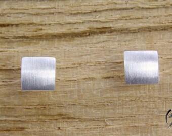 Stud Earrings Silver 925/-, Mini square line Matt, handmade
