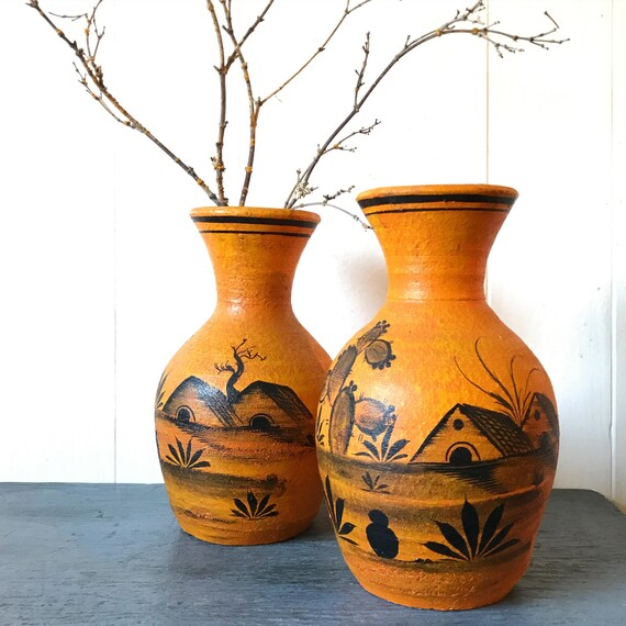 vintage Mexican pottery vase - hand painted Pueblo ceramic - desert cactus - boho southwestern - orange yellow black