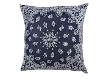 Dark Blue Bandana Pillow Cover - Home Decor