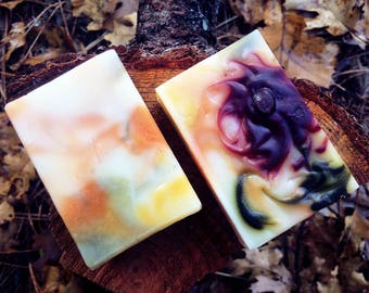 Rosy Geranium Floral Soap (Organic Ingredients, Natural, Cold Process, Handmade)