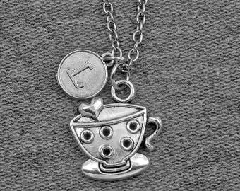 Silver Coffee Cup Necklace -Tea Cup Necklace -Gift For Waitress -Initial Charm Necklace -Your Choice of A to Z