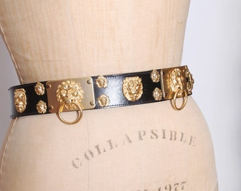 Vintage LION Belt FAUX Leather Belt STATEMENT Belt Gold Cat Belt