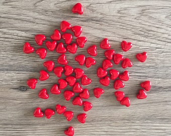 Set of 10 beads heart - shaped Red ❤️