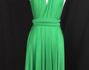 Green dress,Bridesmaid Dress , Infinity Dress,Knee Length Wrap Convertible Dress.Party dress-A31#
