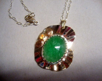 Pendant Emerald & Opal natural in sterling silver w 14k bits- Truly handmade by me in USA -eco friendly- necklace w chain- big emerald 18x24