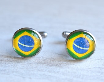 Brazil Flag Mens Cuff Links Groomsmen Gifts Wedding Gifts