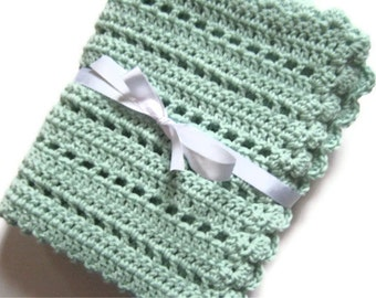 Crochet baby blanket mint green blanket photo prop
