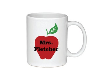 Teacher Apple Personalized With Name - Coffee Mug - Printed On Both Sides - Teacher Gift - 124