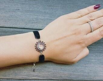 Black velvet Bracelet with charm