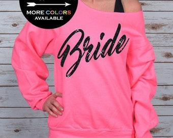 Bride Off Shoulder Raw Edge Sweatshirt, Bride Sweatshirt, Mrs Sweater, Wifey Shirt, Bride to Be, Bride Shirts, Bridal Party (Black Glitter)