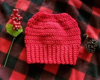 Crochet Messy Bun Beanie, Crochet Hat, Winter Hat, Ponytail Hat, Messy Bun Hat