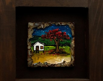 Puerto Rican Landscape at night with flamboyant framed miniature painting