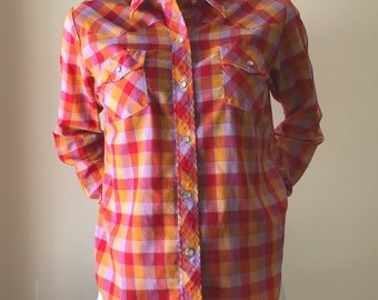 summer plaid, super thin pearl snap western style shirt, S