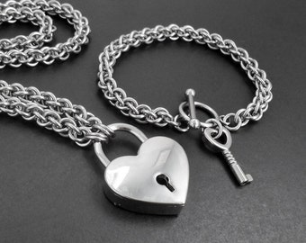 Stainless Steel Working Heart Padlock Jewellery Set - Matching Chainmaille Necklace & Bracelet